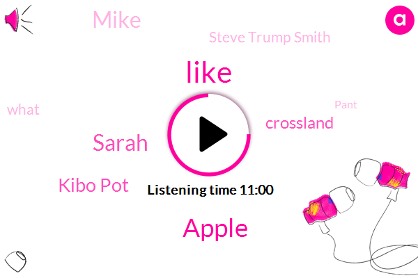 Apple,Sarah,Kibo Pot,Crossland,Mike,Steve Trump Smith,Pant
