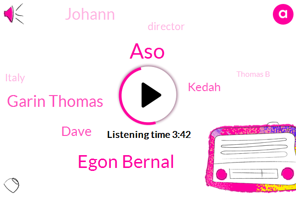 ASO,Egon Bernal,Garin Thomas,Dave,Kedah,Johann,Director,Italy,Thomas B,Alabama,Coney,Five Seconds,Nine Second,Five Years