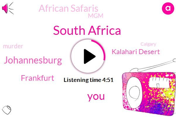 South Africa,Johannesburg,Frankfurt,Kalahari Desert,African Safaris,MGM,Murder,Calgary,Vancouver