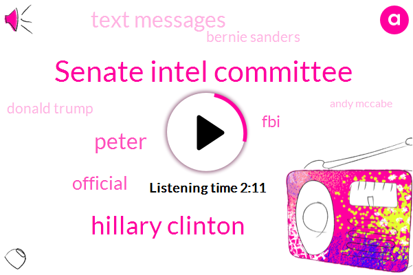 Senate Intel Committee,Hillary Clinton,Peter,Official,FBI,Text Messages,Bernie Sanders,Donald Trump,Andy Mccabe,Justice Department,Senate,President Trump,Muller