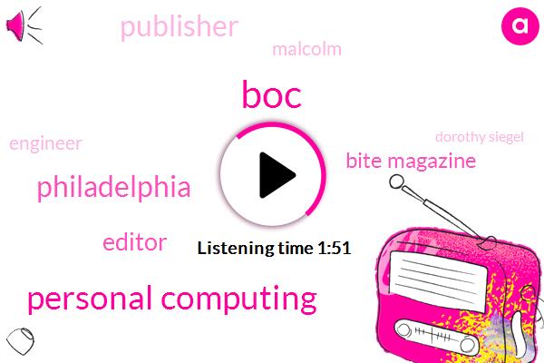 BOC,Personal Computing,Philadelphia,Editor,Bite Magazine,Publisher,Malcolm,Engineer,Dorothy Siegel,New York,Castro,Ms Leslie,Chamberlain,David