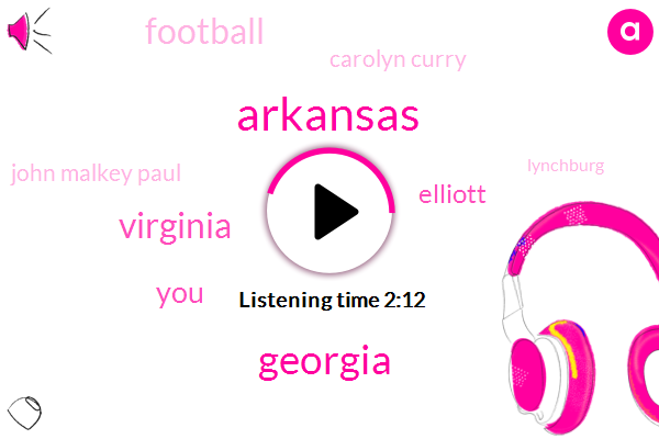 Arkansas,Georgia,Virginia,Elliott,Football,Carolyn Curry,John Malkey Paul,Lynchburg