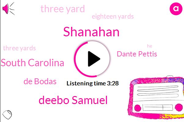 Shanahan,Deebo Samuel,South Carolina,De Bodas,Dante Pettis,Three Yard,Eighteen Yards,Three Yards