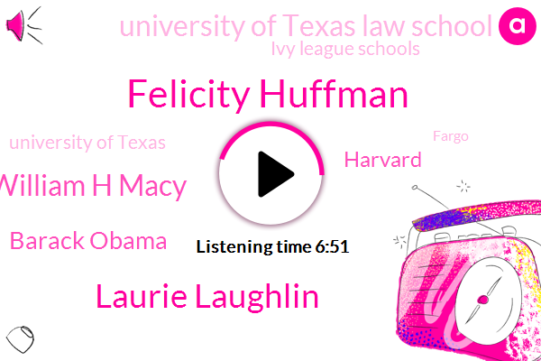Felicity Huffman,Laurie Laughlin,William H Macy,Barack Obama,Harvard,University Of Texas Law School,Ivy League Schools,University Of Texas,Fargo,Fraud,Texas,Representative,Soccer,Yale,Hillary,California,Thirty Seven Years