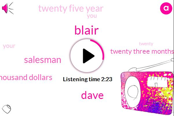 Blair,Dave,Salesman,One Hundred Thousand Dollars,Twenty Three Months,Twenty Five Year