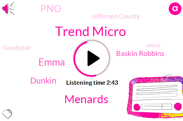 Trend Micro,Menards,Chicago,Emma,Dunkin,Baskin Robbins,PNO,Jefferson County,Goodyear,Espn,Official,One Hundred Dollars,One Year