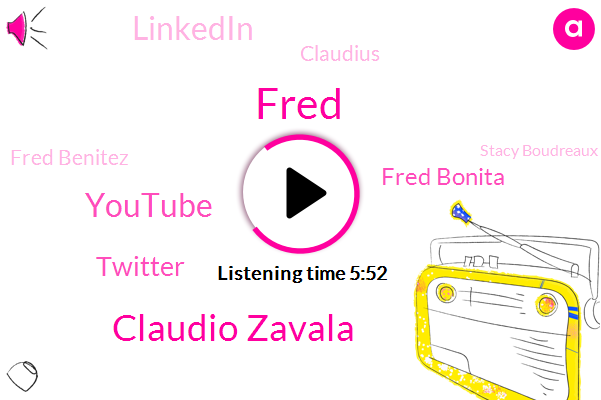 Fred,Flipboard,Claudio Zavala,Youtube,Twitter,Fred Bonita,Linkedin,Claudius,Fred Benitez,Stacy Boudreaux,Dr. Michael Milstead,El Camino,Aileen,Fraser,Google,Claudia