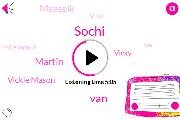 Sochi,VAN,Martin,Vickie Mason,Vicky,Maaseik,Vicki,Mike Monks,GEE,Elson,DAN,Kisaburo,Hennion,Mr. Fellow,Abby,Ten Ton