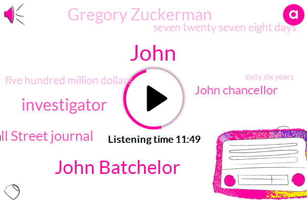 John Batchelor,John,Investigator,Wall Street Journal,John Chancellor,Gregory Zuckerman,Seven Twenty Seven Eight Days,Five Hundred Million Dollars,Sixty Six Years,Fifteen Years,Two Decades,Ten Years
