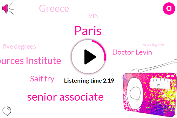 Paris,Senior Associate,World Resources Institute,Saif Fry,Doctor Levin,Greece,VIN,Five Degrees,Two Degree,Five Degrees Celsius,Five Degree,Three Years,Two Degrees