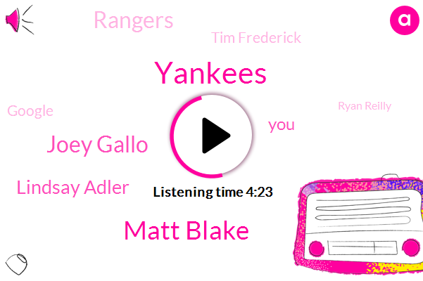 Yankees,Matt Blake,Joey Gallo,Lindsay Adler,Rangers,Tim Frederick,Google,Ryan Reilly,Kaiser,Ben Harmon Matthew