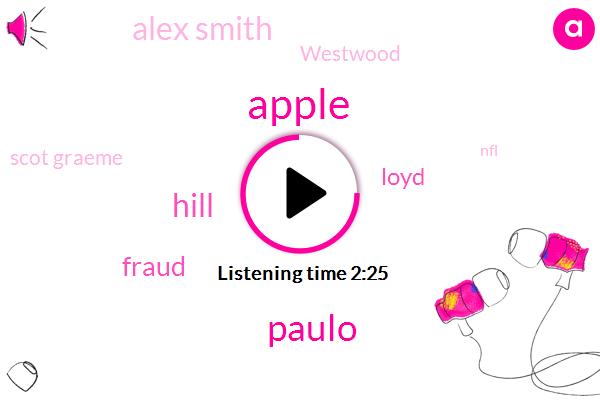 Apple,Paulo,Hill,Fraud,Loyd,Alex Smith,Westwood,Scot Graeme,NFL,Shut Down,Kevin,Seventy Yards
