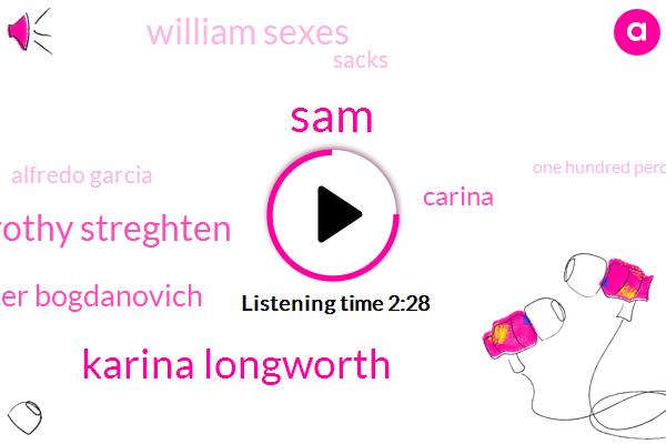 SAM,Karina Longworth,Dorothy Streghten,Peter Bogdanovich,Carina,William Sexes,Sacks,Alfredo Garcia,One Hundred Percent
