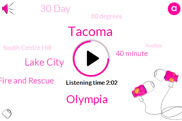 Tacoma,Olympia,Lake City,South King County Fire And Rescue,40 Minute,30 Day,80 Degrees,South Centre Hill,Audible,Tacoma Mall,Rick Johnson,Michigan,Two Patients,Lakewood,Cairo Radio,South 35,I Five,Tracy Taylor,Half An Hour,Both Vehicles