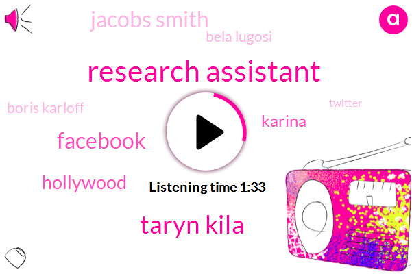 Research Assistant,Taryn Kila,Facebook,Hollywood,Karina,Jacobs Smith,Bela Lugosi,Boris Karloff,Twitter,Instagram