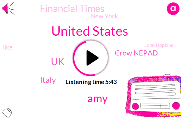 United States,AMY,UK,Italy,Crow Nepad,Financial Times,New York,John Hopkins,Europe,Singapore Germany,CDC,Spain,Norway,New York.,Arizona,Brazil,California,Mexico,Latin America