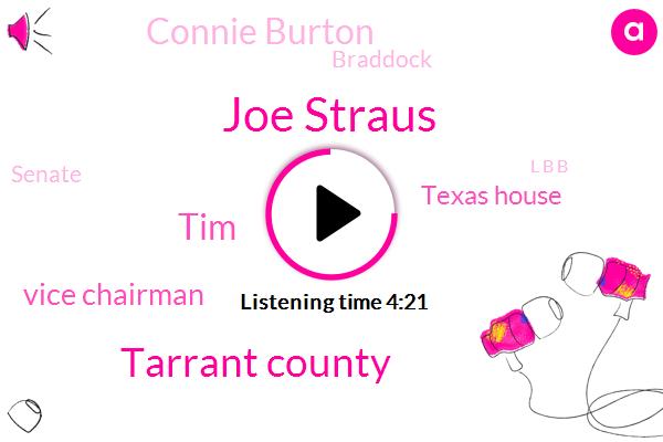 Joe Straus,Tarrant County,Texas,TIM,Vice Chairman,Texas House,Connie Burton,Braddock,Senate,L B B,LEX,Austin,Two Hundred Billion Dollar,Twenty Four Month,Three Minutes