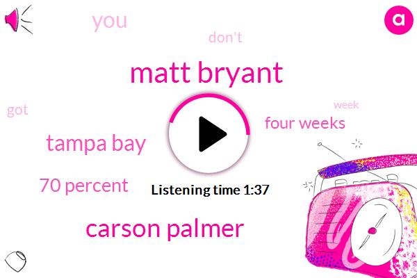 Matt Bryant,Carson Palmer,Tampa Bay,70 Percent,Four Weeks