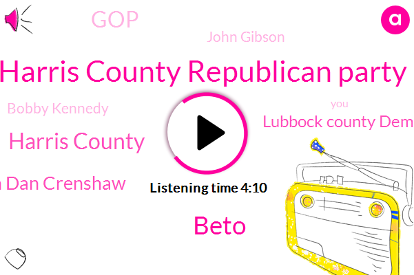 Harris County Republican Party,Beto,Harris County,Congressman Dan Crenshaw,Lubbock County Democratic Party,GOP,John Gibson,Bobby Kennedy,Democratic Party,Hettie,Lubbock,Arlington,Greg Abbott,Ted Poe,Texas,Houston,Attorney,Three Percent