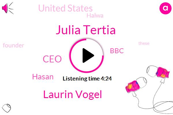 Julia Tertia,Laurin Vogel,CEO,Hasan,BBC,United States,Halwa,Founder