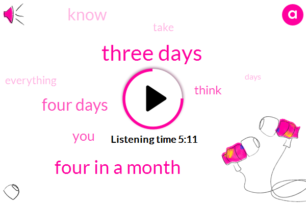 TWO,Three Days,Four In A Month,Four Days,A