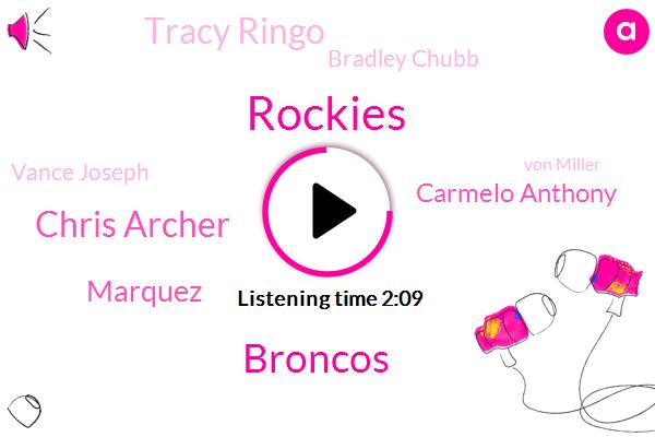 Broncos,Rockies,Chris Archer,Marquez,Carmelo Anthony,Tracy Ringo,Bradley Chubb,Vance Joseph,Von Miller,Houston Rockets,Jeff Hier,Sam Jones,Vikings,Jake,Milwaukee,Dave Logan,Cortlandt Sutton,Colorado