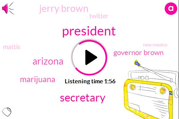 President Trump,Secretary,Arizona,Marijuana,Governor Brown,Jerry Brown,Twitter,Mattis,New Mexico,Texas,Mexico,Military Reporter,Brown,Donald Trump,Pentagon,San Diego,Federal Government,California,Steve Walsh