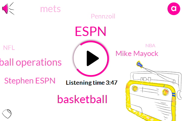 Espn,Stephen,Basketball,President Of Basketball Operations,Stephen Espn,Mike Mayock,Mets,Pennzoil,NFL,NBA,Los Angeles Lakers,Stephen I,Ethan,LA,New York Knicks,President Trump,Colin,Machado