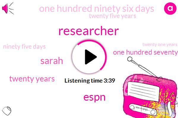Researcher,Baseball,Espn,Sarah,Twenty Years,One Hundred Seventy Four Days,One Hundred Ninety Six Days,Twenty Five Years,Ninety Five Days,Twenty One Years,Three Day