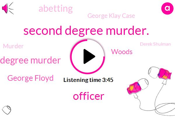 Second Degree Murder.,Officer,First Degree Murder,George Floyd,Woods,Abetting,George Klay Case,Murder,Derek Shulman,Sudan,Disney,Babylonia,Sydney