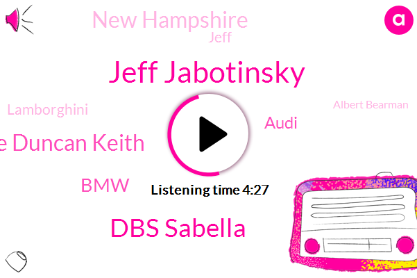 Jeff Jabotinsky,Dbs Sabella,Luke Duncan Keith,BMW,Audi,New Hampshire,Jeff,Lamborghini,Albert Bearman,New England,Nick,Fifty Thousand Dollar,Two Liter