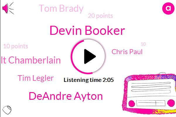 Devin Booker,Deandre Ayton,Wilt Chamberlain,Tim Legler,Chris Paul,Tom Brady,20 Points,10 Points,10,19 Rebounds,Nine Assists,Ninth Game,15,Five,32 Points,1972,20,17 Rebounds,5,Brian Forbes