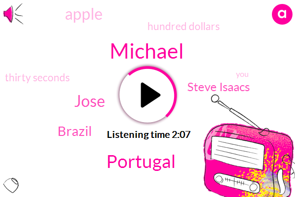 Michael,Portugal,Jose,Brazil,Steve Isaacs,Apple,Hundred Dollars,Thirty Seconds,Thirty Second,Fifty Dollar