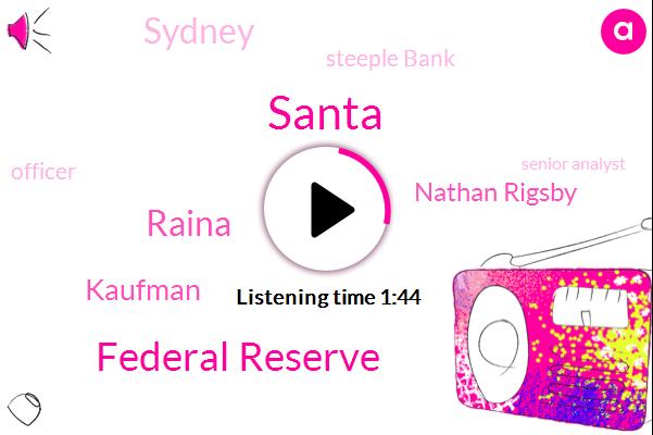 Federal Reserve,Santa,Raina,Kaufman,Nathan Rigsby,Sydney,Steeple Bank,Officer,Senior Analyst,Alex,R Block,Twenty Five Years,Eleven Twenty Km
