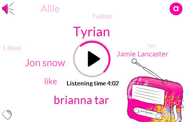 Tyrian,Brianna Tar,Jon Snow,Jamie Lancaster,Allie,Twitter,I. Novi,Teri,Twenty Seven Seconds,One Thirty Seconds,Sixteen Minutes