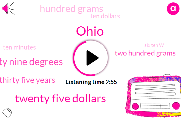 Ohio,Twenty Five Dollars,Fifty Nine Degrees,Thirty Five Years,Two Hundred Grams,Hundred Grams,Ten Dollars,Ten Minutes,Six Ten W