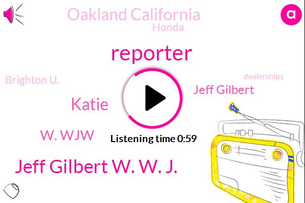 Reporter,Jeff Gilbert W. W. J.,Katie,W. Wjw,Jeff Gilbert,Oakland California,Honda,Brighton U.