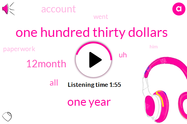One Hundred Thirty Dollars,One Year,12Month