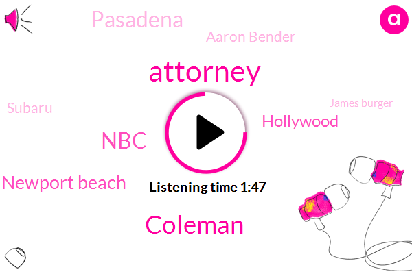 Attorney,Coleman,NBC,Newport Beach,Hollywood,Pasadena,Aaron Bender,Subaru,James Burger,KFI,Fourteen Twenty Seven Ounce,Seventy Five Degrees,Ninety Five Degrees,Twenty Four Hour