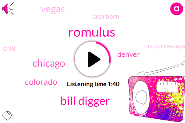 Romulus,Bill Digger,Chicago,Colorado,Denver,Vegas,Dearborn,Chile,Thirty Three Degrees,Two Day