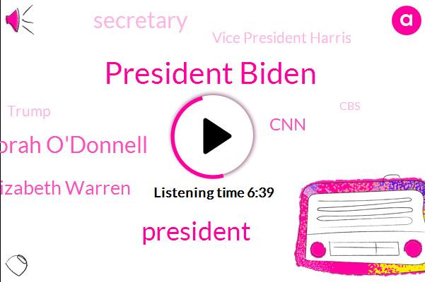 President Biden,President Trump,Norah O'donnell,Elizabeth Warren,CNN,Secretary,Vice President Harris,Donald Trump,CBS,Taiwan,Washington,Fox News,Harvard Endowment Fund,Maryland,Keystone Xl,Cheney