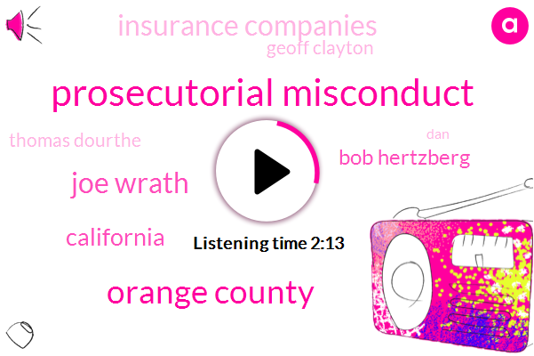 Prosecutorial Misconduct,Orange County,Joe Wrath,California,Bob Hertzberg,Insurance Companies,Geoff Clayton,Thomas Dourthe,DAN,Kqed,Marisa Lagos,Rob Bonte,Senator,Anthony,Department Of Insurance