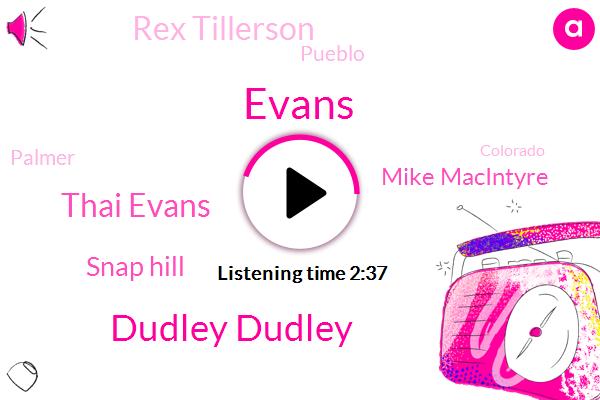 Evans,Dudley Dudley,Thai Evans,Snap Hill,Mike Macintyre,Rex Tillerson,Pueblo,Palmer,Colorado,Kerry,Forty Five Yard,Twenty Yards
