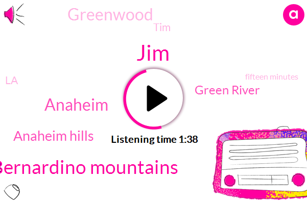 JIM,San Bernardino Mountains,Anaheim,Anaheim Hills,Green River,Greenwood,TIM,LA,Fifteen Minutes,Fifty Percent,Ten Minutes