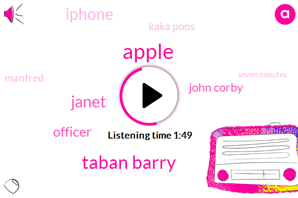 Apple,Taban Barry,Janet,Officer,John Corby,iPhone,Kaka Poos,Manfred,Seven Minutes,Thousand Dollar
