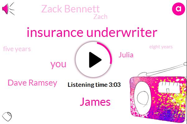 Insurance Underwriter,James,Dave Ramsey,Julia,Zack Bennett,Zach,Five Years,Eight Years,Two Hundred Sixty Thousand Eight Years,Five Ten Years,Three Years,Ten Years