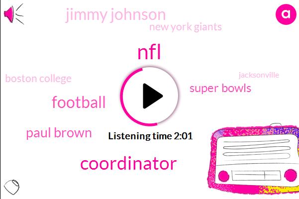 NFL,Coordinator,Football,Paul Brown,Super Bowls,Jimmy Johnson,New York Giants,Boston College,Jacksonville,Cleveland,Vince Lombardi,Dallas,Tom Coughlin
