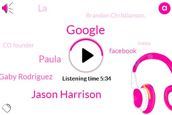 Google,Jason Harrison,Paula,Gaby Rodriguez,Facebook,LA,Brandon Christianson.,Co Founder,Gabby,Apple,Miami
