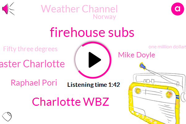 Firehouse Subs,Charlotte Wbz,Easter Charlotte,Raphael Pori,Mike Doyle,Charlotte,Weather Channel,Norway,Fifty Three Degrees,One Million Dollars,Seventy Six Degrees,One One Percent