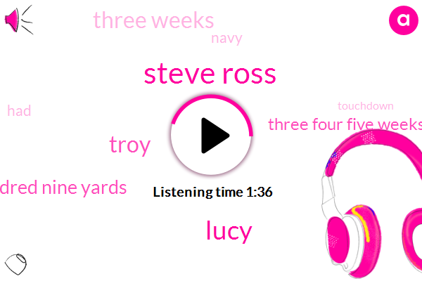 Steve Ross,Lucy,Troy,One Hundred Nine Yards,Three Four Five Weeks,Three Weeks